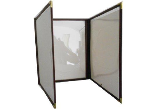 Triple Fold Menu Cover 8.5 x 11 - Vinyl Edge Trim In - Sold By Case (10 Pcs), Brown