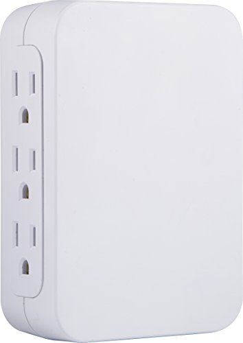 (GE Pro 6 Outlet Wall Tap Surge Protector, Side Access, Power Outlet Adapter, 3 Prong Wall Mount, Plug In Outlet Extender, 1200 Joules, Warranty, UL Listed, White, 10353)