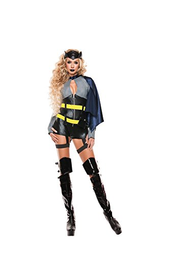 [Starline Women's Sexy Bat Hero Women's 3 Piece Costume Set, Black/Blue, X-Large] (Batwoman Costume Cape)