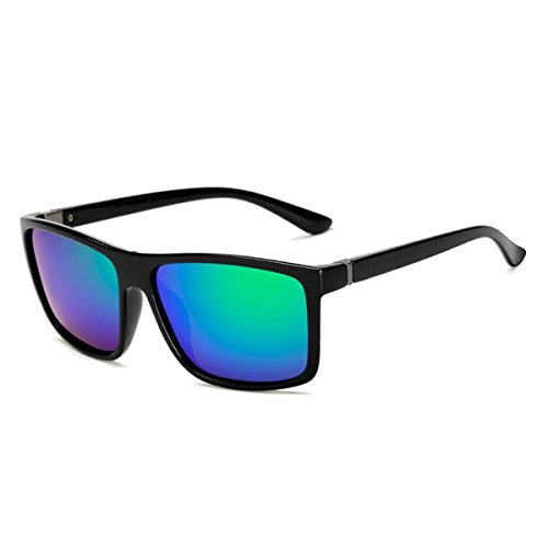 pour femmes lunettes carrée vintage polarisée couleur hommes Vert Tukistore soleil corne lentille les de bordé Noir réfléchissant miroir grande de plat BzxTTwZ7