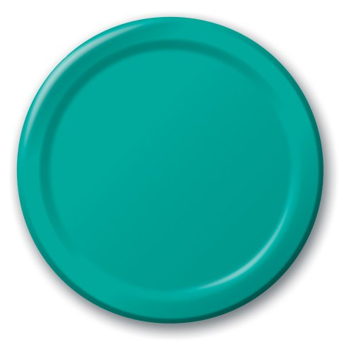 Creative Converting Touch of Color 24 Count Paper Lunch Plates, Tropical Teal