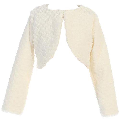 Dreamer P Little Girls Faux Fur Flower Girl Bolero Jacket Cover Shrug Sweater Christmas Ivory M (L11T09)