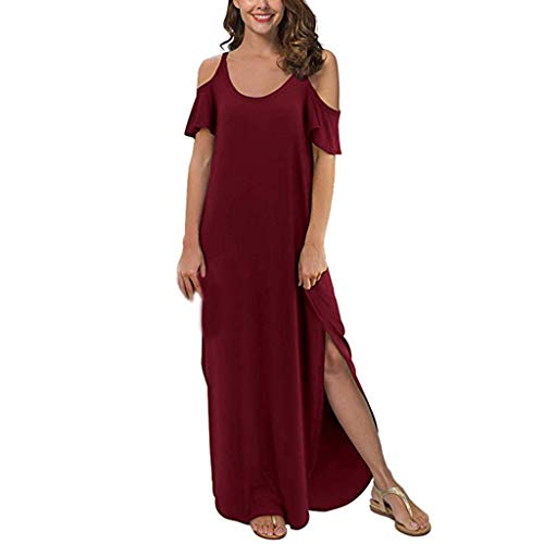 Sunhusing Women's Solid Color Round Neck Off-Shoulder Ruffled Short-Sleeve Sexy Split Hem Loose Maxi Dress Red