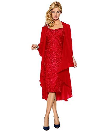 Damen Rot mit Knielang Spitze Bolero LuckyShe Brautmutterkleider Jacke dqR1Uxd0n