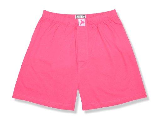 Biagio Men's Solid HOT Pink Fuchsia Color Boxer 100% Knit Cotton Shorts sz 2XL