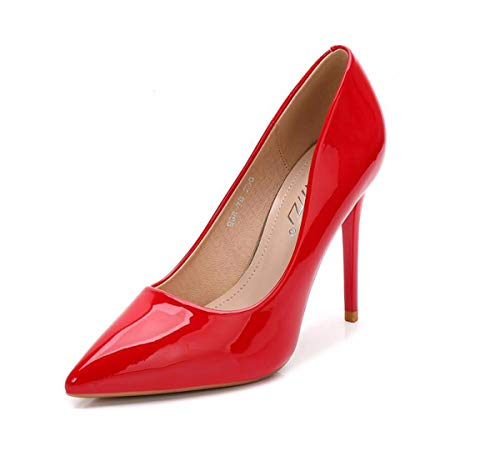 Women'S Eight Shoes And Shoes Pointed High Thin Shoes Sexy Lacquered Super Leather Shallow Women's Working Mouth 10Cm shoes Gules KPHY Thirty qHanw4Fa