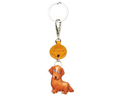 Golden Retriever Leather Dog Small Keychain VANCA Craft-Collectible Keyring Charm Pendant Made in Japan