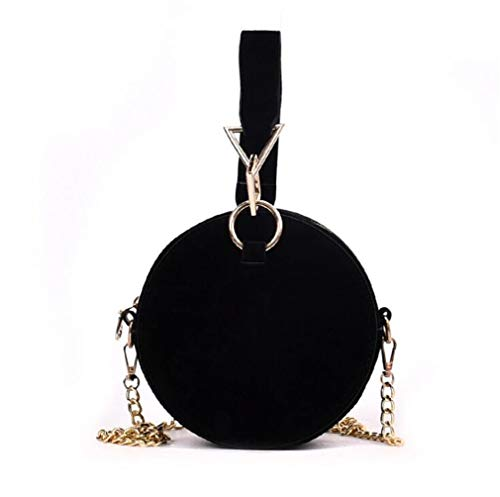 EKLCD Round Shaped Clutch Bag Women Evening Party Bags Retro Metallic Purse Top Handle Small Crossbody Chain Bag Black