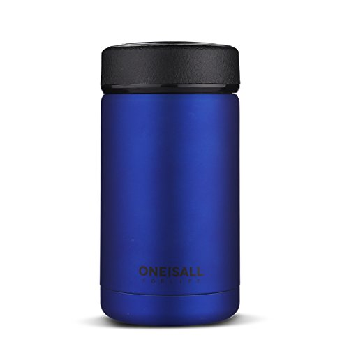 ONE IS ALL GYBL114 400ML Men Gift Thermos Cup Insulated Stainless Steel Thermo Mug with Tea Infuser, Vacuum Flask Coffee Wine Tumbler, 269G (Blue)