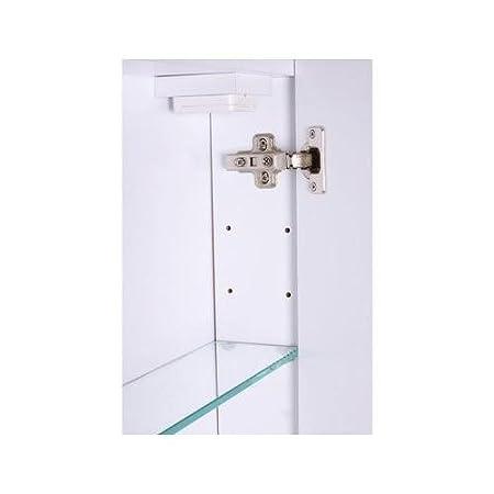 Mebasa MYBSPKMD10 - Armario con espejos para baño, 2 puertas, estantes ajustables, tubo fluorescente T5, cierre suave, con interruptor exterior, ...