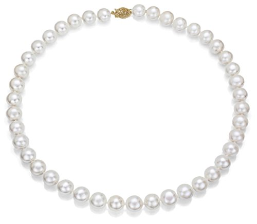 14k Gold 9-10mm White Freshwater Cultured AA-Quality Pearl Necklace (White) Double Strand Fashion Necklace