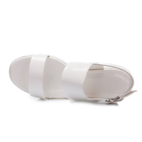 Allhqfashion Womens Open Toe Kitten Tacchi Sandali Con Fibbia Bianca