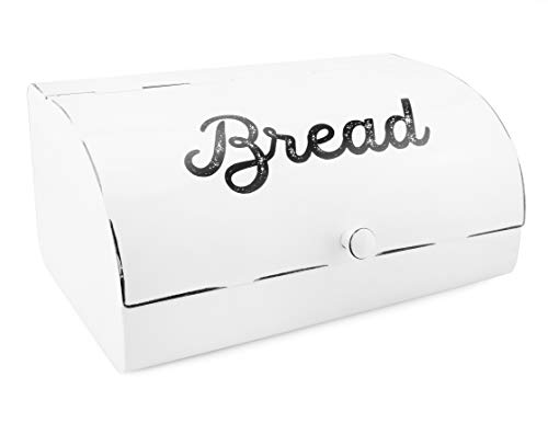 (AuldHome White Bread Box; Farmhouse Vintage Enamelware Countertop Bread Bin)