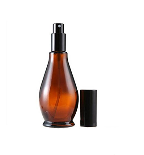 1PCS 100ML Cucurbit Shaped Amber Glass Vial Bottles With Black Cap-Cosmetic Perfume Makeup Cream Lotion Lip Balm Storage Container Jar Pot (Spray Bottle)