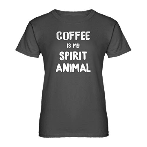 - Womens Coffee is My Spirit Animal Small Charcoal Grey T-Shirt
