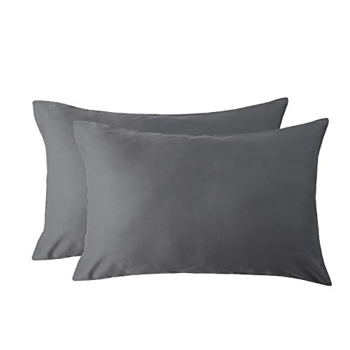 Bedsure Cooling Bamboo Pillowcases Set of 2 100% Viscose from Bamboo Breathable Silky Ultra Soft Natural Moisture Wicking (Grey, King Size 20x40) Bedding ()