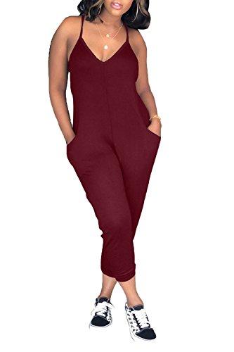 Linsery Women's Sexy V Neckline Spaghetti Strap Top Slim Fit Pants Set S Wine ()