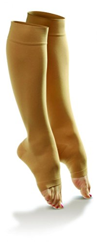 Doctor Comfort Compression Knee High 20-30mmHg Women's Open Toe Sheer Comfort (Large, Nude) Mmhg Womens Open Toe