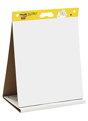 Post-it Super Sticky Tabletop Easel Pad, 20 x 23 Inches, 20 Sheets/Pad, 1 Pad (563 DE), Portable White Premium Self Stick Flip Chart Paper, Dry Erase Panel, Built-in Easel Stand -