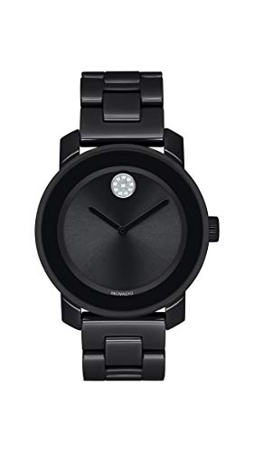 Movado Women's Bold Ceramic Watch with a Flat Dot Museum Dial, Black/Silver (Model (Movado Black Clock)