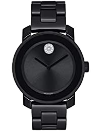 Womens Bold Ceramic Watch with a Flat Dot Museum Dial, Black/Silver (Model