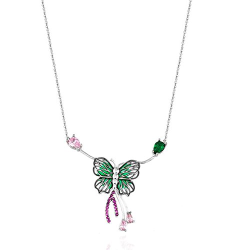 Certificate Collection (Butterfly, Enamel, Emerald, Pink Diamond, Silver, 2014 Collection Pendant Certificate Charm Necklace Handiwork Minimalist)