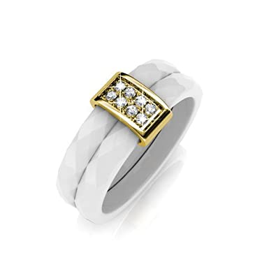 5a4412ab6476e Amazon.com: FAPPAC Ceramic Bar Ring Band Enriched with Swarovski ...