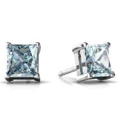 (Genuine Aquamarine Princess Cut Stud Earrings .925 Sterling Silver Rhodium Finish)