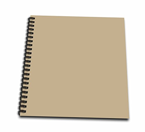3dRose db_159885_1 Khaki Brown-Beige-Simple Plain Solid Color-Army Light Pale Brown-Grey-Gray-Drawing Book, 8 by 8-Inch