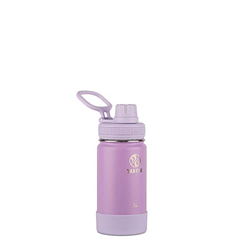 Takeya 51126 Actives Kids Insulated Water Bottle, 14 Ounce, Lilac