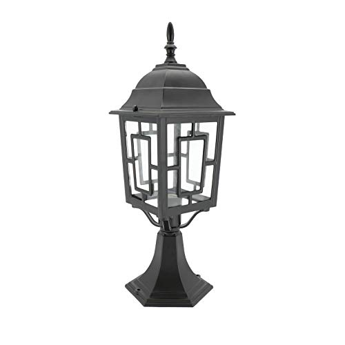 Cast Post Black Lantern - IN HOME 1-Light Outdoor Garden Post Lantern L05 Lighting Fixture, Traditional Post Lamp Patio with One E26 Base, Water-Proof, Black Cast Aluminum Housing, Clear Glass Panels, ETL Listed