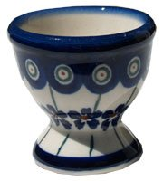- Polish Pottery Egg Cup From Zaklady Ceramiczne Boleslawiec #203-166a Floral Peacock Pattern