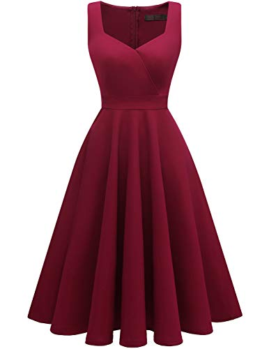 DRESSTELLS Women's Bridesmaid Sleeveless Ruched Tea Dress Cocktail Swing Party Dress Burgundy S