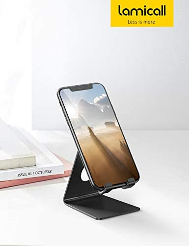 Lamicall Cell Phone Stand, Phone Dock: Cradle, Holder, Stand for Office Desk, Compatible with iPhone 11 Pro Xs Xs Max Xr X 8 7 6 6s Plus, All Android Smartphones Charging – Black (Non-Adjustable) 31BPAyZQaaL