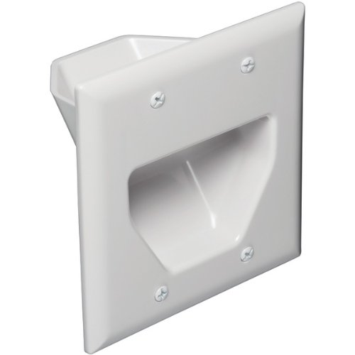 DataComm Electronics 45-0002-WH 2-Gang Recessed Low Voltage Cable Plate, White