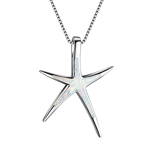 - Kalapure Sterling Silver Starfish Pendant Necklace with Created White Green Blue Opal and 18