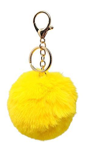 (SIMPLICHIC Faux Fox Rabbit Fur Pom Pom Keychain Bag Purse Charm Gold Ring Fluffy Fur Ball Assorted Color and Design - Yellow)