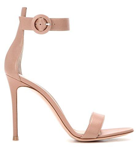 Femmes Strappy Stylet Haute Talon Des sandales Cheville Sangle Piaulement Doigt de pied Chaussures rouge Grand Taille 35-45 apricot 9lOaj