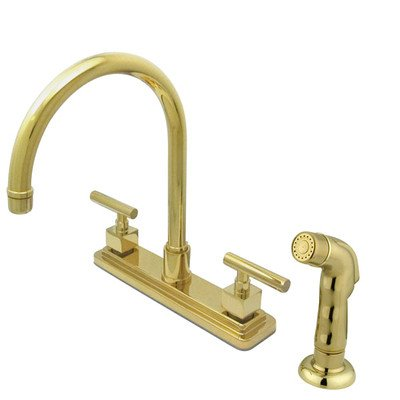 picture of Rio Double Handle Kitchen Faucet with Matching Finish Plastic Sprayer Finish: Polished Brass