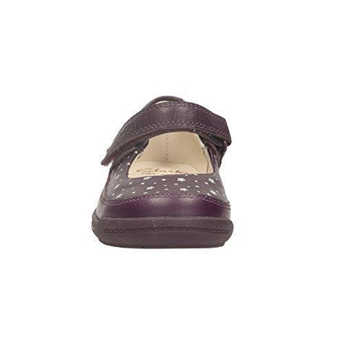 Clarks Suavemente el Ida primera en baya o cuero púrpura Morado - violeta
