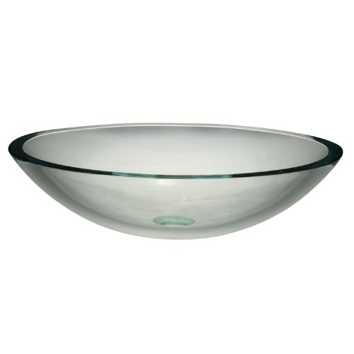 DECOLAV 1129T-TCR Ela Translucence Oval 19mm Tempered Glass Vessel Sink, Transparent Crystal Crystal Tempered Glass Vessel