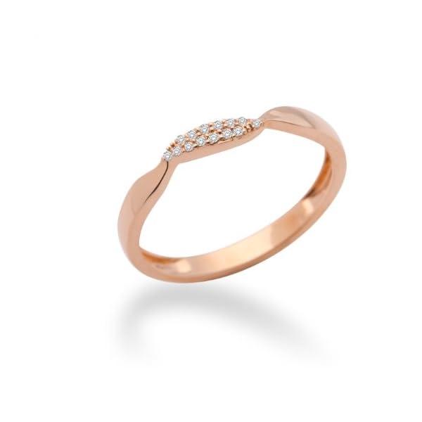 MIORE – Anillo de oro rosa de 9 quilates con diamante (.05) MIORE – Anillo de oro rosa de 9 quilates con diamante (.05) MIORE – Anillo de oro rosa de 9 quilates con diamante (.05)
