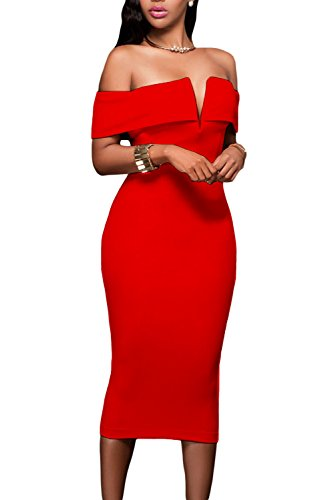 Alvaq Womens Sexy V Neck Off The Shoulder Evening Bodycon Club Midi Dress, Red, Medium ()