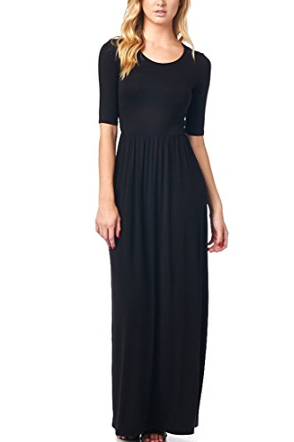 82 Days Womens Casual 3/4 Sleeve Long Maxi Dress with Elastic Waist Made In USA