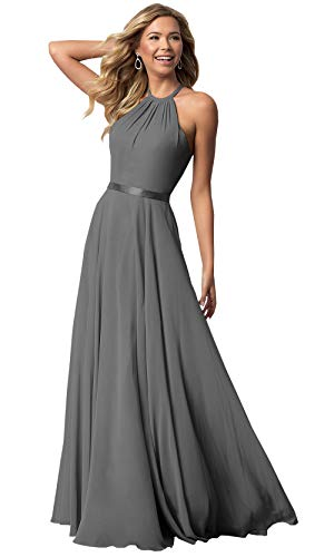 Women's Halter Long Bridesmaid Dresses Open Back A-line Formal Evening Party Gowns (Gray,4)