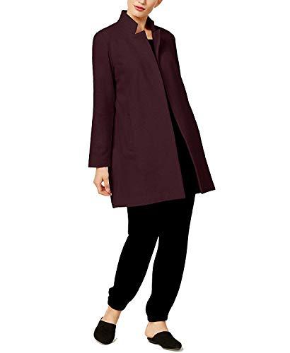 Eileen Fisher Women's Wool Blend Notch-Collar Long Coat Claret,X-Small