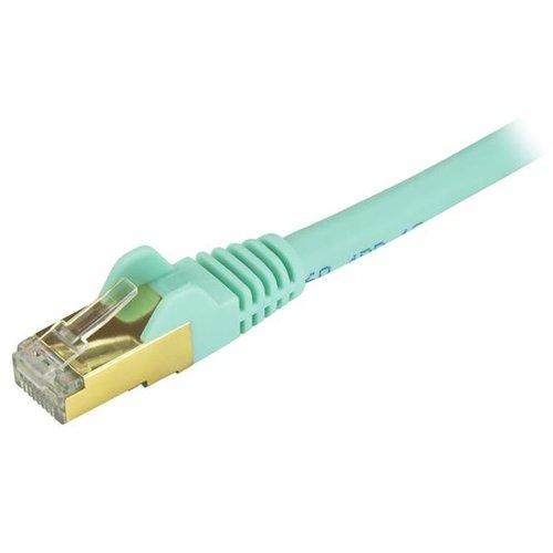 STP M - 20 ft molded StarTech C6ASPAT20AQ 20 ft Aqua Cat6a//Cat 6a Shielded Ethernet Patch Cable 20ft snagless M to RJ-45 Patch cable aqua RJ-45 CAT 6a