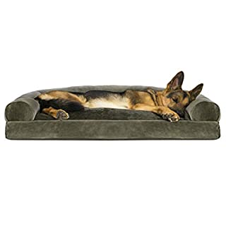 Furhaven Pet Dog Bed - Faux Fur & Velvet Pillow Cushion Traditional Sofa-Style Living Room Couch Pet Bed w/ Removable Cover for Dogs & Cats, Dark Sage, Jumbo