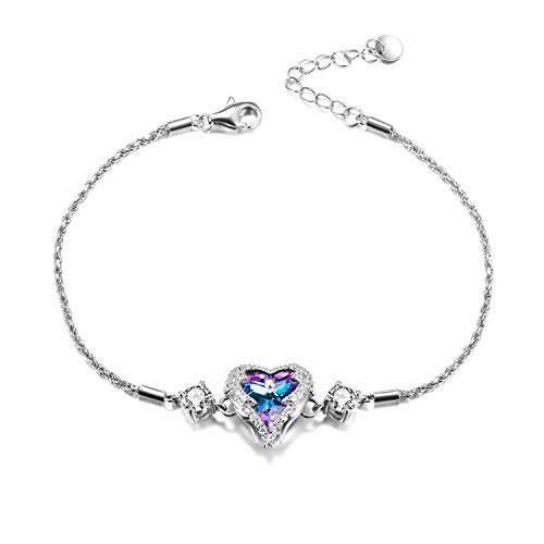 WINNICACAC Purple Heart of Ocean Love Heart Bracelets for Women Made with Swarovski Crystals
