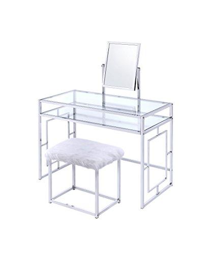 ACME Furniture 90314 Josh White and Chrome Vanity and Stool